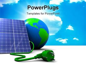 PowerPoint template displaying abstract 3D solar panel with earth globe and sky in the background