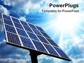 PowerPoint template displaying large solar panel with blue sky and sun, green energy