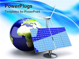 PowerPoint template displaying alternative energy depiction with solar panel and earth / globe