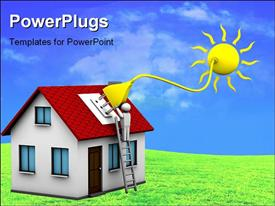 PowerPoint template displaying man who installs a solar energy system on a house