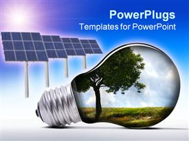 PowerPoint template displaying light bulb with tree and grass inside and solar panels against blue and white background