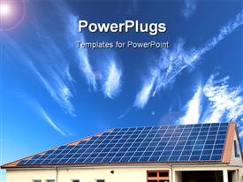 PowerPoint template displaying alternative energy Solar panel with sky in the background