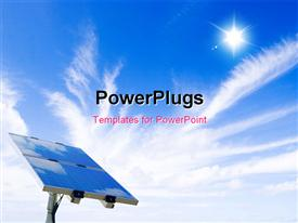 PowerPoint template displaying a solar panel on a blue sky with sun shining bright