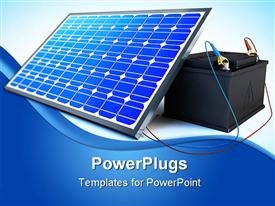 PowerPoint template displaying solar pannel is charging the battery on white background
