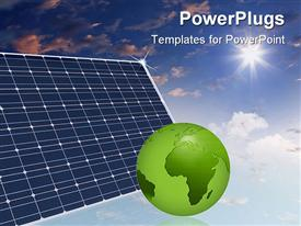 PowerPoint template displaying eco friendly  solar panels in the sky make the world a better place green globe save the planet