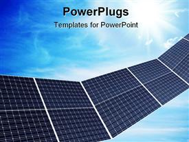 PowerPoint template displaying solar panel depiction against nice cloudy sky in the background.