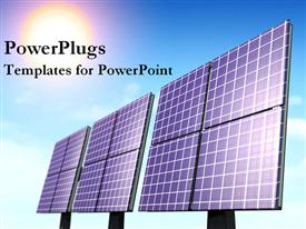 PowerPoint template displaying three large black solar panels on a clear blue sky
