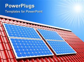 PowerPoint template displaying blue solar panels on red roof on a sunny light blue sky background