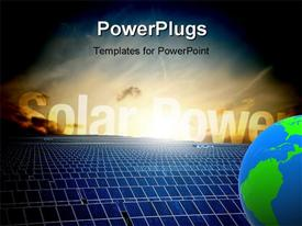PowerPoint template displaying energy field with sunshine over solar panels and blue earth globe