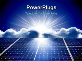 PowerPoint template displaying solar energy panels with beautiful sky in the background