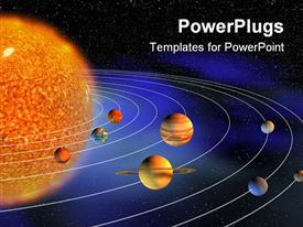 PowerPoint template displaying diagram representing planets of the Solar system on the background representing the Universe