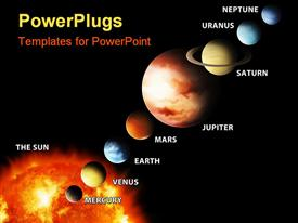 PowerPoint template displaying sun and planets aligned and labeled, solar system