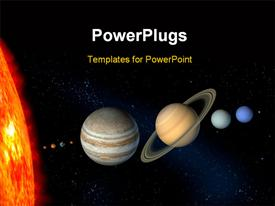 PowerPoint template displaying planets and sun from our solar system. digital depiction