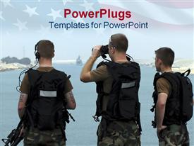 PowerPoint template displaying the group of soldiers along with their security accessories