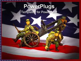 PowerPoint template displaying toy soldiers with American flag background