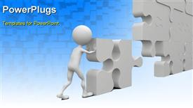 Business teamwork - business person building a puzzle which was made in 3D powerpoint template