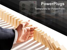 PowerPoint template displaying dominoes as an abstract management concept in the background.