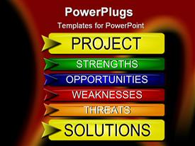 PowerPoint template displaying project Solutions with SWOT analysis buttons
