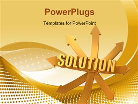 PowerPoint template displaying solution. Arrows. 3D Very beautiful three-dimensional depiction in the background.