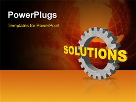 Solutions text and gearwheel on black background - 3D powerpoint template