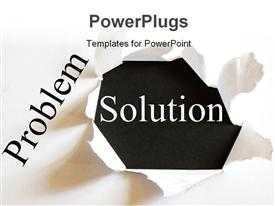 Solving a business problem with solution in a paper hole presentation background