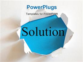 PowerPoint template displaying solving a business problem with solution in a paper hole in the background.