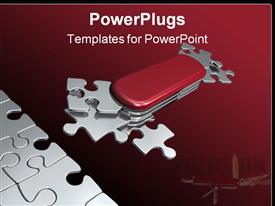 PowerPoint template displaying metaphoric Swiss puzzle-knife with all necessary shapes for all situations