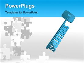 PowerPoint template displaying blue skeleton solutions key over white surface with jigsaw puzzle