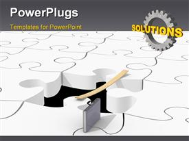 PowerPoint template displaying solved white puzzle pieces with a missing piece and a gear