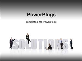 PowerPoint template displaying business professionals lean against 3D SOLUTIONS on white background