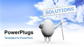 Cartoon egghead character holding a sign with Solution written on it powerpoint template