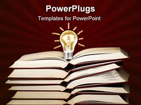 PowerPoint template displaying lit light bulb on the stack of books ,can be used as concept for education,ideas, solution