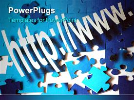 PowerPoint template displaying lots of blue colored puzzle pieces on a white background