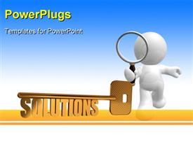 PowerPoint template displaying solutions gold key - Gold key with Solutions text as symbol for success in business - Conceptual in the background.