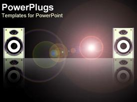 PowerPoint template displaying sound system with two large disco speakers with light circles on black background