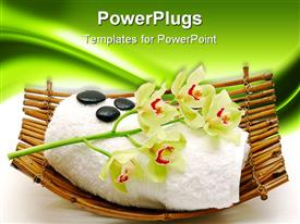 PowerPoint template displaying bamboo basket with flowers, towel, and pebbles