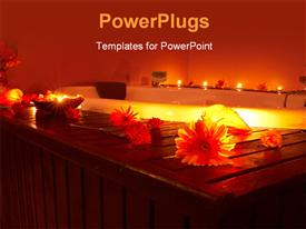 PowerPoint template displaying a number of flowers with candles in the background