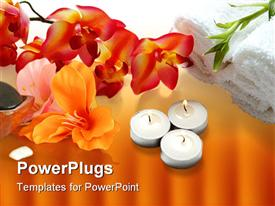 PowerPoint template displaying a number of burning candles and a whole lot of flowers