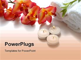 PowerPoint template displaying orchids, candles, bamboo, white towels, spa, beauty, salon