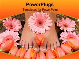PowerPoint template displaying pair of adult feet with lots of flowers on them