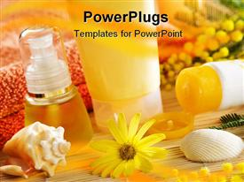 PowerPoint template displaying a collection of spa products with blurred background