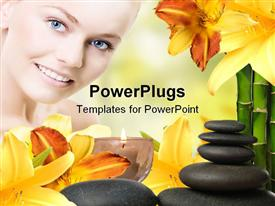 PowerPoint template displaying close up of smiling woman with blue eyes, with spa relaxing items, yellow flowers, zen relaxing stones, burning aromatic candle and bamboo sticks