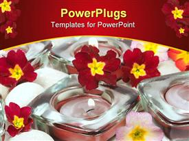 PowerPoint template displaying small pink lit candles with lots of red flowers