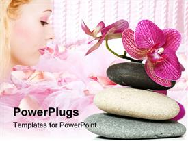 PowerPoint template displaying orchid laying on stones in the background.