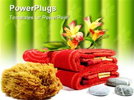 PowerPoint template displaying pebbles flowers and towels - body care