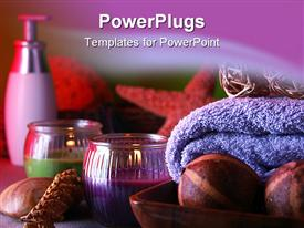 PowerPoint template displaying set for SPA with aromatic components and candles