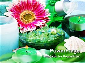 PowerPoint template displaying a number of flowers and candles together