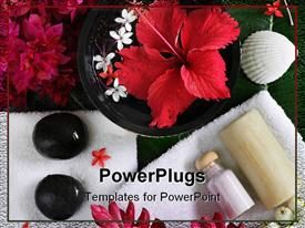 PowerPoint template displaying spa beauty exotic tropical flowers sea shells stones towels salt soap on green leaves in the background.