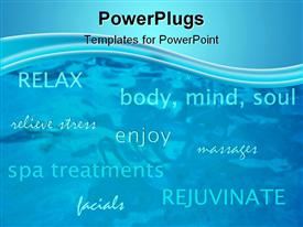 Spa brochure with texts over an abstract water background presentation background