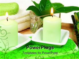 PowerPoint template displaying a candle with leaves in the background